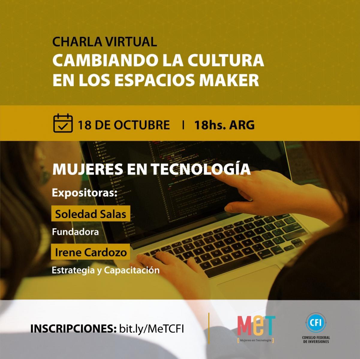"""flyer de la charla """"cambiando la cultura en los espacios maker"""""""