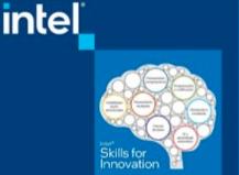 Logo de Intel Skills for Innovation. Incluye el dibujo de un cerebro.