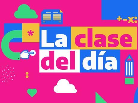 En letras de clores sobre fondo rosa dice: «La clase del día». Además, hay un lápiz, un cuaderno, una estrella y una escuadra.