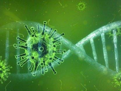 Varios virus flotando delante de la doble hélice del ADN, todo en tonos verdes.