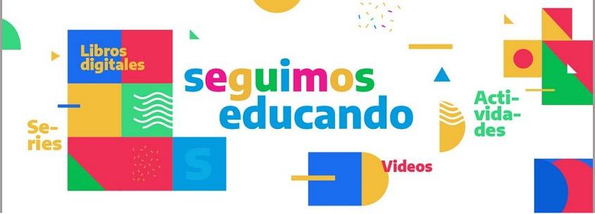 En el centro, dice «Seguimos educando». Alrededor, entre cuadrados, triángulos, círculos y semicírculos de colores, dice: «Series, libros digitales, videos, actividades».