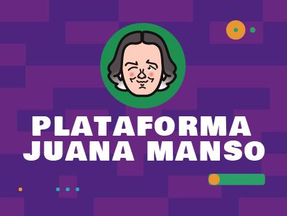 Sobre fondo violeta, un círculo verde con la cara de Juana Manso guiñando un ojo. Abajo dice: «Plataforma Juana Manso».